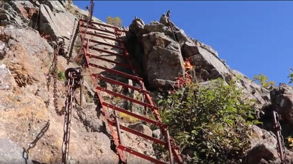横岳までの垂直梯子の写真