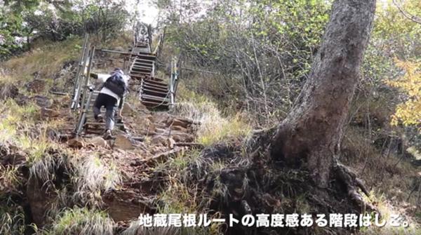 地蔵尾根ルート階段梯子の写真